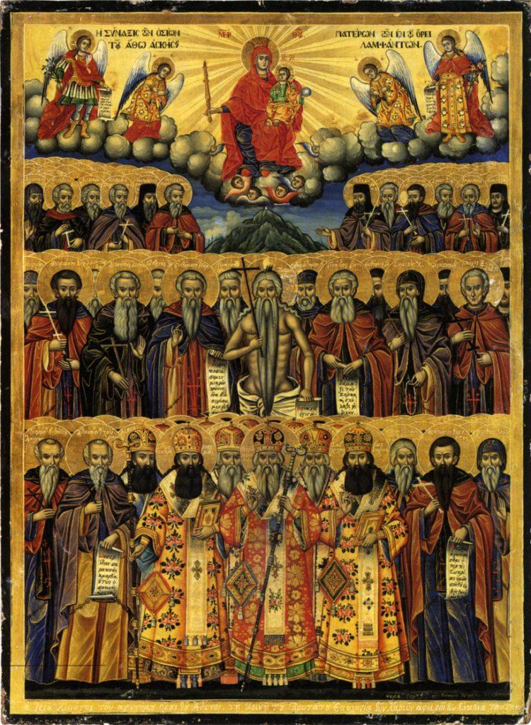 Saints_of_Mount_Athos_Icon_in_Protatos_Makarios_from_Galatista_1849